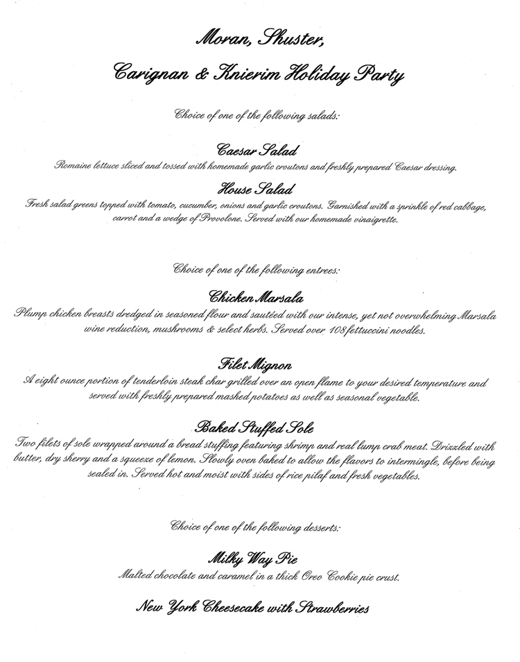 Antonios Dinner Menu Sample